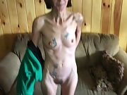 Bony tattooed wife with hairy beaver unclothing