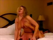 Blonde cuckold milf ejaculating on a stranger's manmeat as her husband films