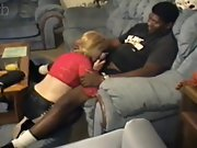 Lovely blonde cougar pleases a muscle black fellow in bed