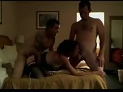Sizzling wife fucks her spouse and his friend in a 3some