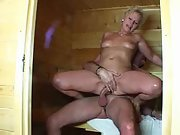 German wife gets screwed by her hubby in sauna