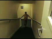 Naked wifey in hotel stairway