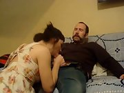 Wife gargle ride moustache hubby loving the attention after work