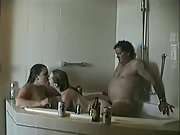 Warm young wives enjoy threesome fucky-fucky with an older fellow in the bathtub