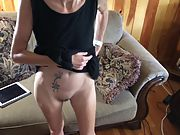 Skinny wife elevating her sundress and demonstrating off her pussy