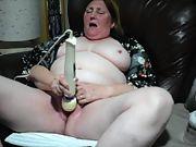 58yr senior gilf wife masturbates with hitachi massager to cum highly noisily
