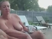 Wifey watches me rub one out in backyard