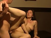 Horny dark haired wife enjoying sizzling sex on the table