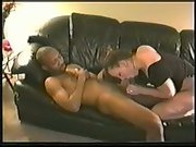 Black my milky wife cuckold amateur bred on leather sofa with guy