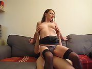 Wife riding spouse on the sofa in lingerie